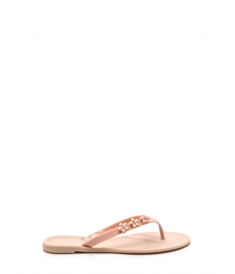 Incaltaminte Femei CheapChic Perfect Petal Trio Jelly Thong Sandals Nude