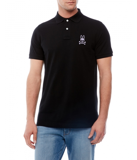 Imbracaminte Barbati Psycho Bunny Short Sleeve Embroidered Polo Black Lilac