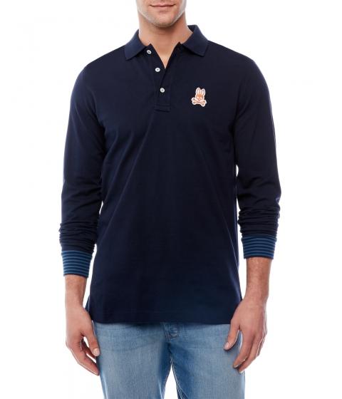 Imbracaminte Barbati Psycho Bunny Navy Long Sleeve Polo Shirt Navy