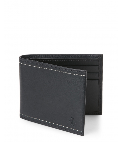 Genti Barbati Original Penguin Black Stitch Penguin Leather Wallet Black Brown