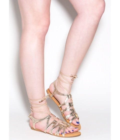 Incaltaminte Femei CheapChic Snake Believe Caged Lace-up Heels Gold