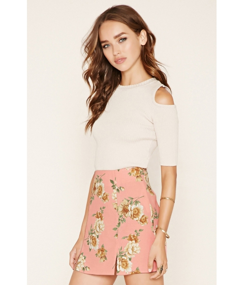 Imbracaminte Femei Forever21 Floral Crepe Mini Skirt Pinkyellow