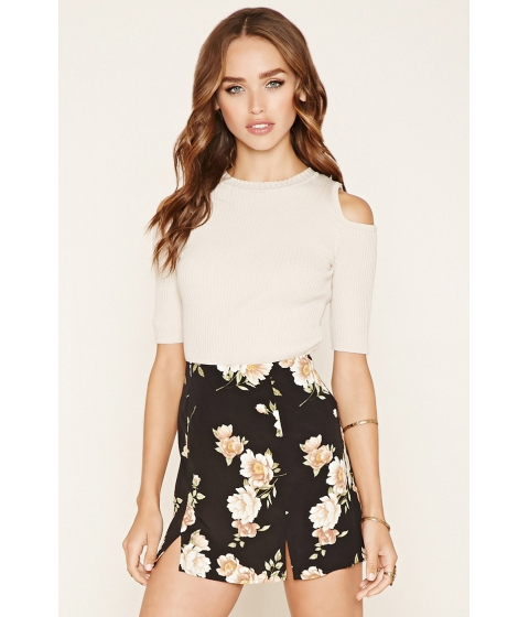 Imbracaminte Femei Forever21 Floral Crepe Mini Skirt Blacktaupe