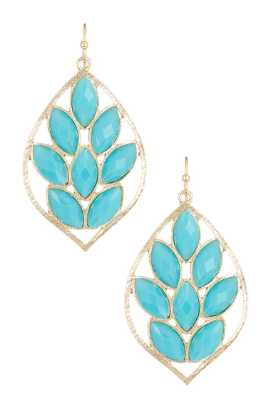 Bijuterii Femei Natasha Accessories Faceted Leaf Dangle Earrings BLUE