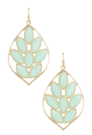 Bijuterii Femei Natasha Accessories Faceted Leaf Dangle Earrings GREEN