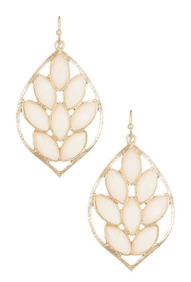 Bijuterii Femei Natasha Accessories Faceted Leaf Dangle Earrings IVORY