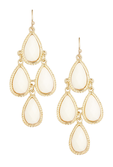 Bijuterii Femei Natasha Accessories Faceted Teardrop Dangle Earrings IVORY
