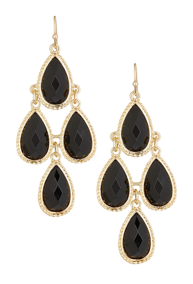 Bijuterii Femei Natasha Accessories Faceted Teardrop Dangle Earrings BLACK