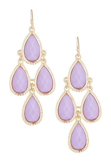 Bijuterii Femei Natasha Accessories Faceted Teardrop Dangle Earrings PURPLE