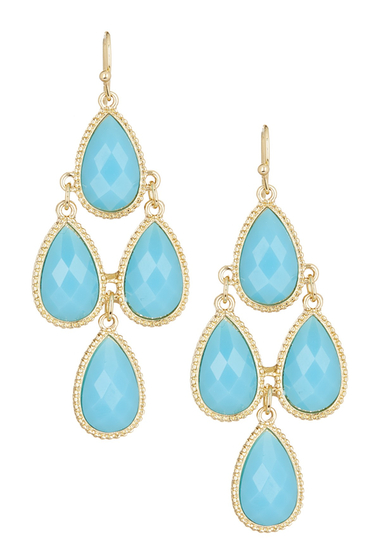 Bijuterii Femei Natasha Accessories Faceted Teardrop Dangle Earrings AQUA