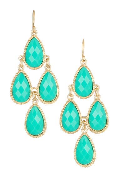 Bijuterii Femei Natasha Accessories Faceted Teardrop Dangle Earrings GREEN