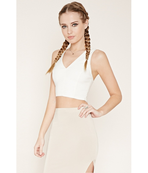 Imbracaminte Femei Forever21 Caged Lace Crop Top Cream