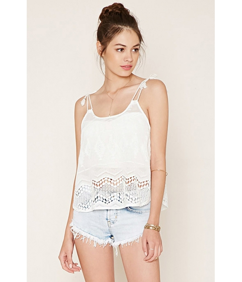 Imbracaminte Femei Forever21 Embroidered Self-Tie Cami White