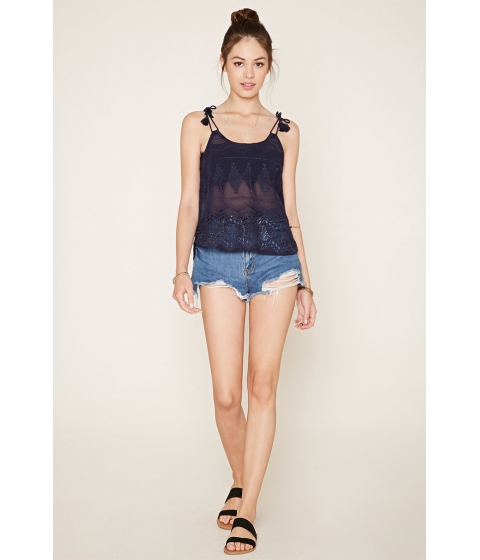 Imbracaminte Femei Forever21 Embroidered Self-Tie Cami Navy