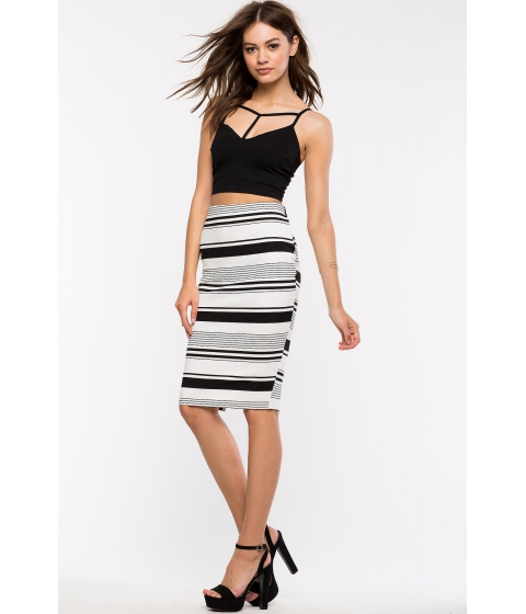 Imbracaminte Femei CheapChic Variegated Stripes Pencil Skirt BlackWhite Ptrn