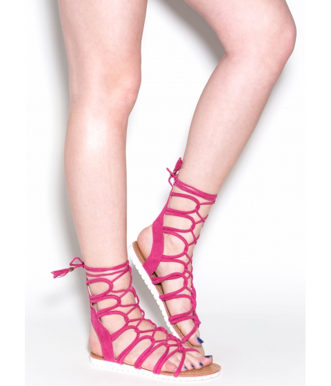 Incaltaminte Femei CheapChic Find A Loophole Lace-up Caged Sandals Fuchsia