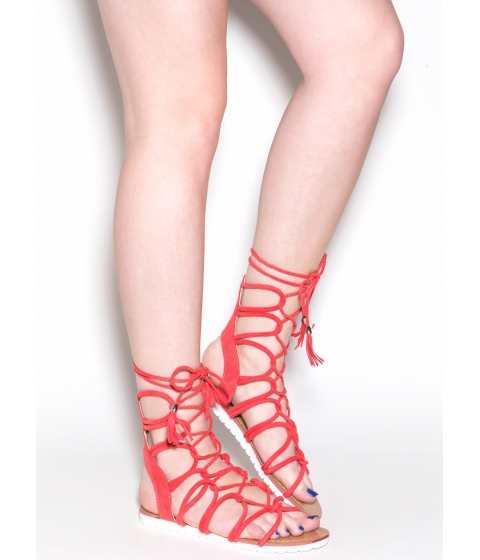 Incaltaminte Femei CheapChic Find A Loophole Lace-up Caged Sandals Hotcoral