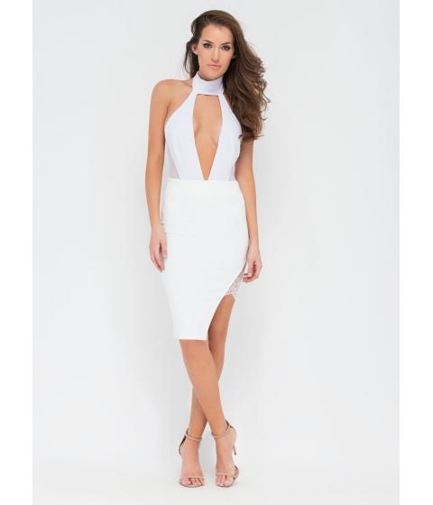 Imbracaminte Femei CheapChic Playful Peek Lace Inset Skirt White