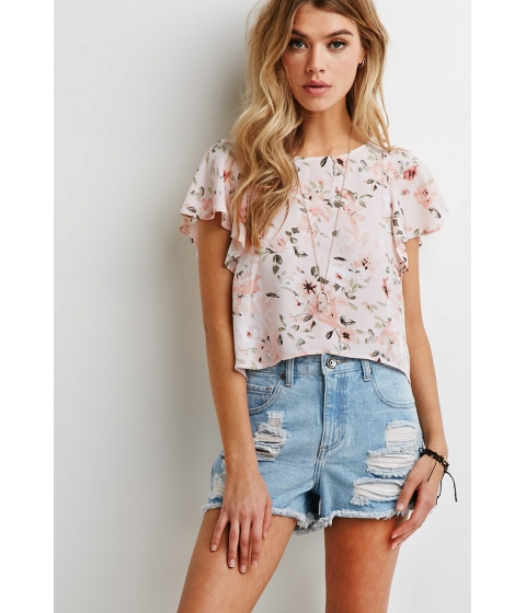 Imbracaminte Femei Forever21 Watercolor Floral Flutter-Sleeve Top BLUSHSAGE