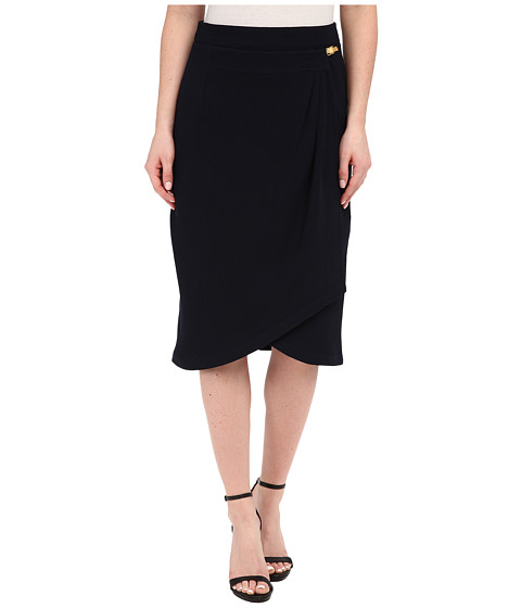 Imbracaminte Femei Adrianna Papell Pleated Wrap Skirt with Metal Tab Midnight Blue