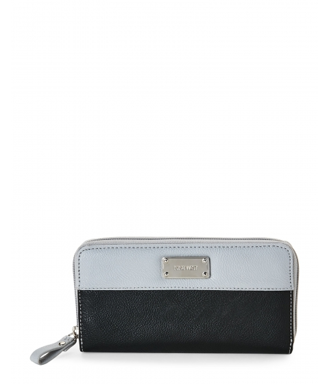 Genti Femei Nine West Black Grey Split Color Zip Wallet Blackmulti