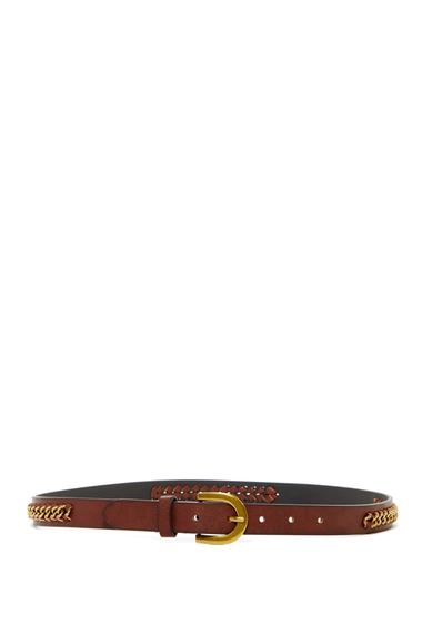 Accesorii Femei Linea Pelle Jean Metal Weave Belt DARK BROWN