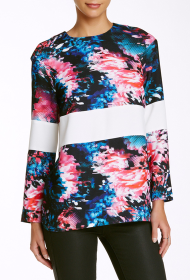 Imbracaminte Femei French Connection After Party Crepe Long Sleeve Blouse BLACK MULTI