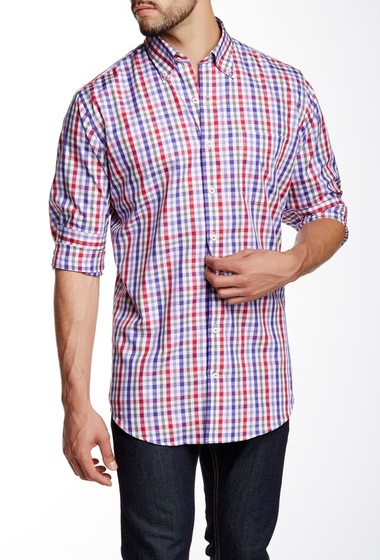 Imbracaminte Barbati Peter Millar Coventry Tattersall Altenator Long Sleeve Shirt CABERNET