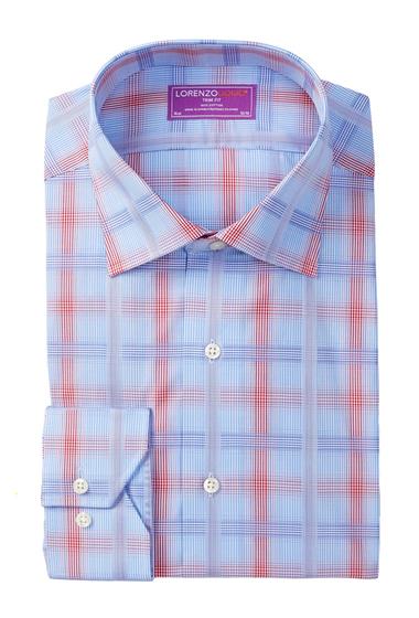 Imbracaminte Barbati Lorenzo Uomo Long Sleeve Trim Fit Plaid Dress Shirt LIGHT BLUE