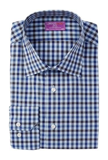 Imbracaminte Barbati Lorenzo Uomo Long Sleeve Trim Fit Multi Gingham Dress Shirt LIGHT BLUE