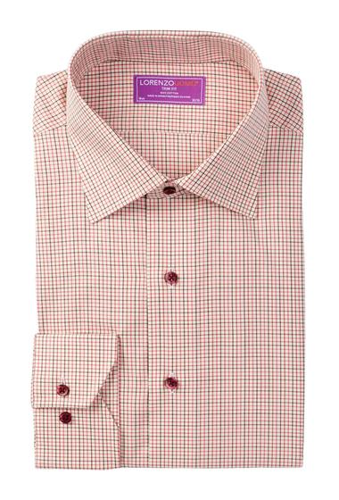 Imbracaminte Barbati Lorenzo Uomo Long Sleeve Trim Fit Windowpane Dress Shirt RED