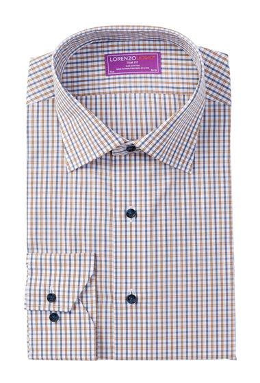 Imbracaminte Barbati Lorenzo Uomo Long Sleeve Trim Fit Checkered Dress Shirt WHITE