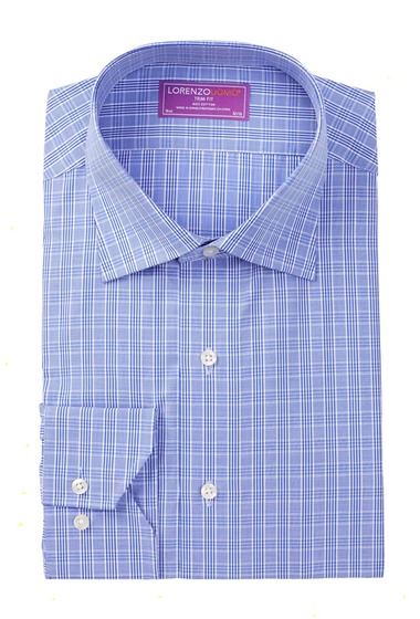 Imbracaminte Barbati Lorenzo Uomo Long Sleeve Trim Fit Check Print Dress Shirt BLUE