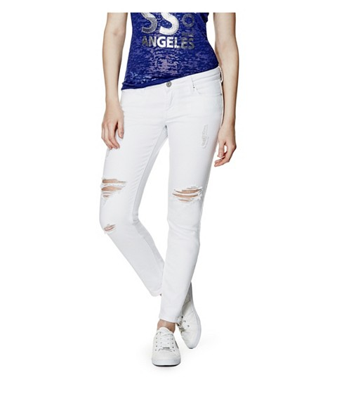 Imbracaminte Femei GUESS Esraine Destructed Skinny Jeans white