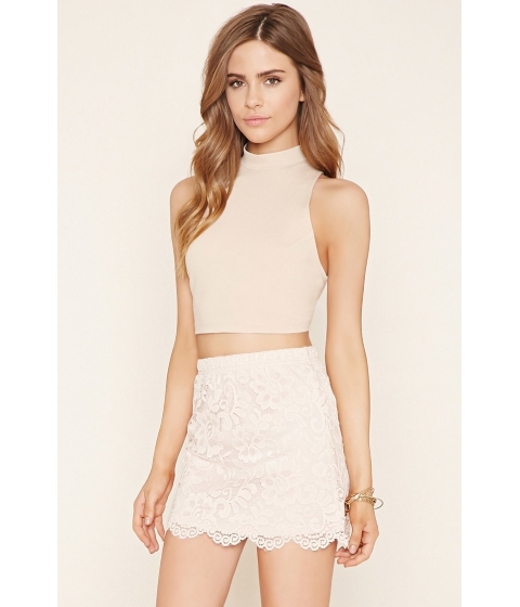 Imbracaminte Femei Forever21 Scalloped Floral Lace Skirt Light pink