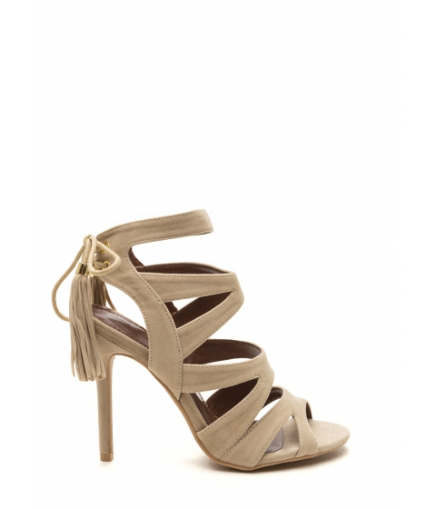 Incaltaminte Femei CheapChic Exotic Accent Faux Suede Heels Nude