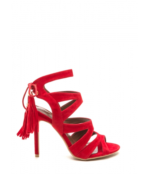 Incaltaminte Femei CheapChic Exotic Accent Faux Suede Heels Red