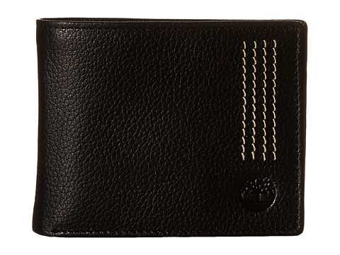 Genti Barbati Timberland Sportz Leather Quad Stitch Passcase Wallet Black
