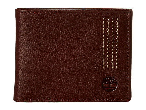 Genti Barbati Timberland Sportz Leather Quad Stitch Passcase Wallet Brown
