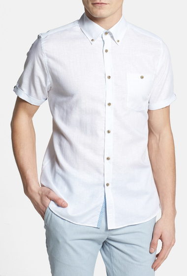 Imbracaminte Barbati Ted Baker London Fresh Yo Short Sleeve Sport Shirt WHITE