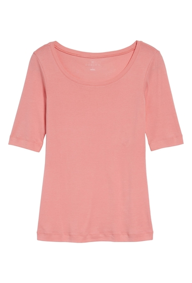 Imbracaminte Femei Caslon Ballet Neck Cotton Modal Knit Elbow Sleeve Tee Regular Petite PINK BERRY ICE