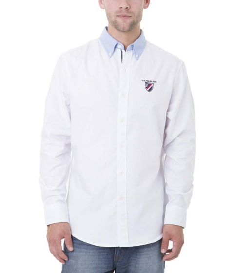 Imbracaminte Barbati US Polo Assn LONG SLEEVE SOLID OXFORD w PATCH Optic White