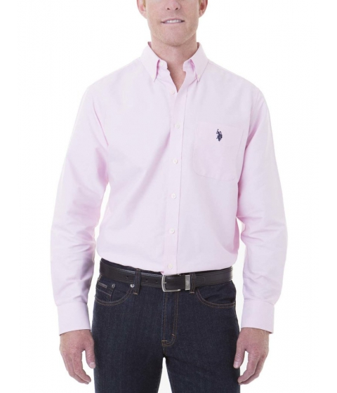 Imbracaminte Barbati US Polo Assn LONG SLEEVE SOLID OXFORD LIGHT PINK OXFORD