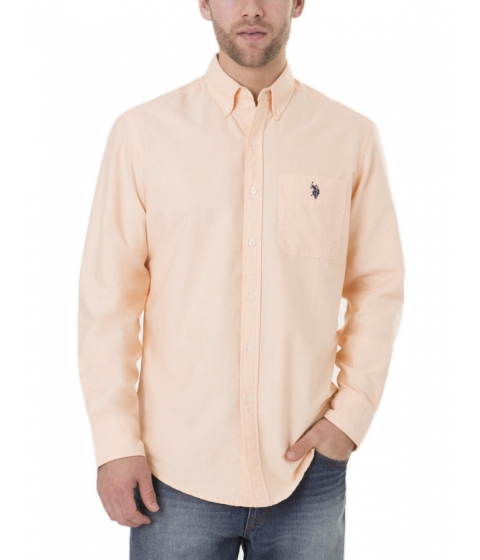 Imbracaminte Barbati US Polo Assn Long Sleeve Solid Oxford Shirt SUMMER SCHOOL ORANGE