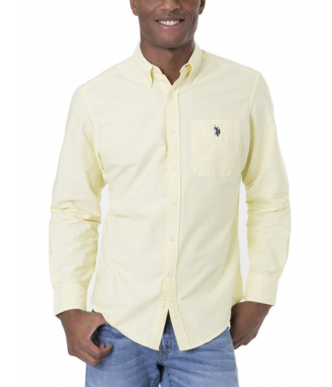 Imbracaminte Barbati US Polo Assn Long Sleeve Solid Oxford Shirt MID DAY YELLOW