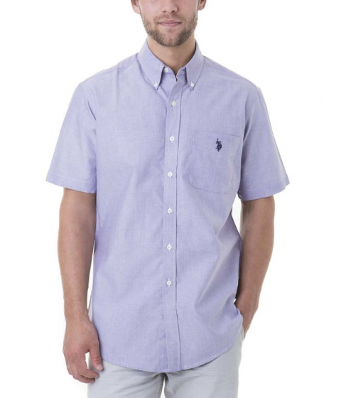 Imbracaminte Barbati US Polo Assn SHORT SLEEVE SOLID OXFORD DARK VIOLET