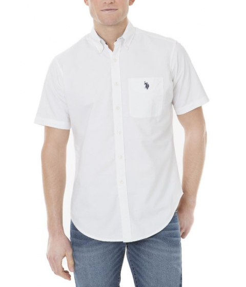Imbracaminte Barbati US Polo Assn Solid Short Sleeve Oxford Shirt Optic White