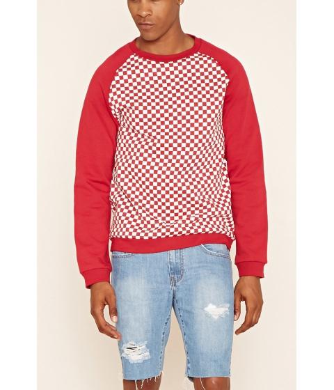 Imbracaminte Barbati Forever21 Checkered Raglan Sweatshirt Redwhite