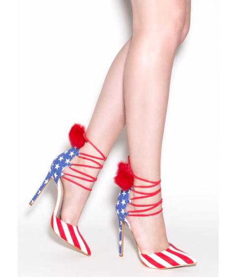 Incaltaminte Femei CheapChic Pom Date American Flag Heels Flag