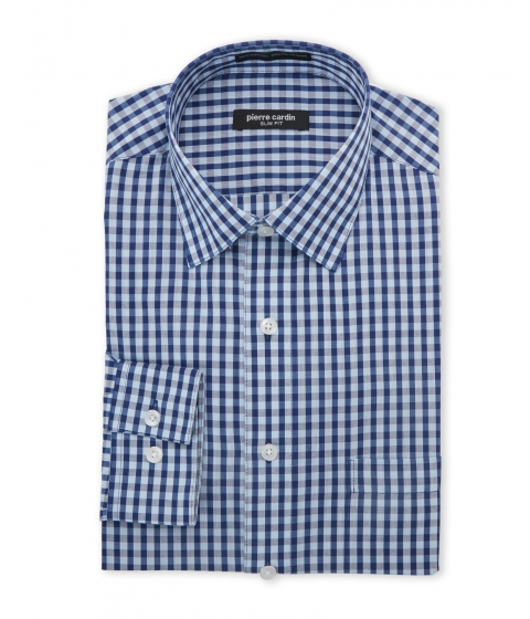 Imbracaminte Barbati Pierre Cardin Blue Navy Check Slim Fit Dress Shirt Blue Navy